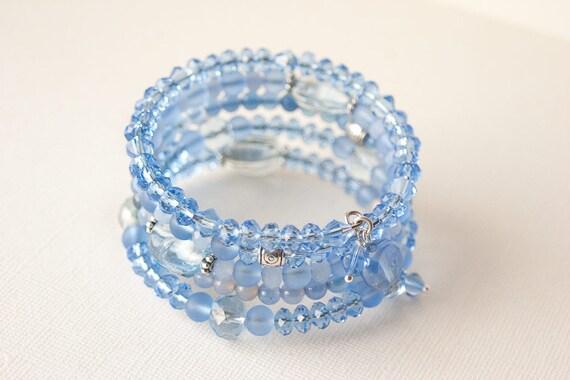 Blue Bracelet, Bohemian Bracelet, Sea Glass Bracelet, Blue Aventurine Jewelry, Bohemian Jewelry, Blue Jewelry, Wrap Bracelet, Trending