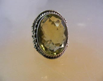 Vintage  Genuine Yellow Citrine Sterling Silver Bali Style  Ring.....  Lot 5253