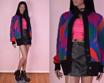 80s Color Block  Sweater/ Medium/ 1980s/ Colorful/ Cardigan/ Oversized/ Jacket