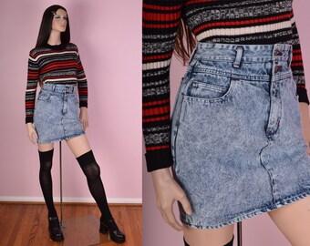 80s Acid Wash High Waisted Denim Skirt/ 27 Waist/ 1980s/ Jean Skirt