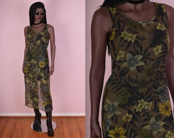 90s Sheer Floral Print Dress/ Small/ 1990s/ Maxi/ Sleeveless