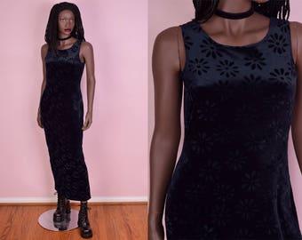 90s Blue Velvet Daisy Print Dress/ Medium/ 1990s/ Floral/ Sleeveless