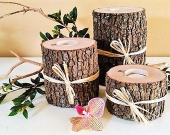 3 Rustic Tree branch candles, wedding candles, Tree log candles, Reclaimed wood candles, Centerpiece, Wood Candles