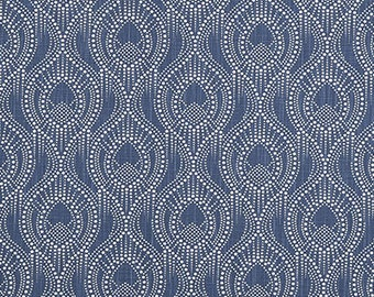 Navy Blue and White Geometric Curtains, ALYSSA REGAL Slub Canvas Rod Pocket 63 72 84 90 96 108 or 120 Long by 24 or 50 Wide