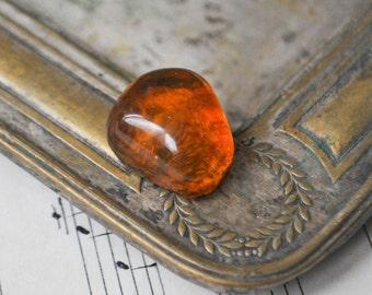 Vintage Genuine Cognac Baltic Amber ring stone.