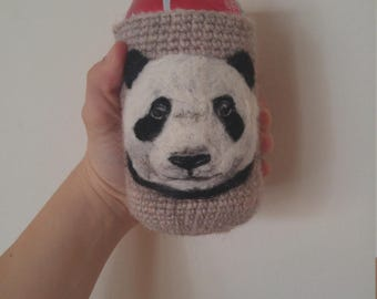 Panda can cozy needle felted