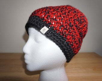 Black and Red Shimmer Bun Beanie
