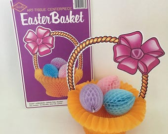 Vintage 1984 Beistle Easter Basket with Honeycomb Eggs Die Cut Decoration, New Old Stock, Centerpiece Decor, Easter Party Ephemera