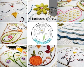 Embroidery Pattern PDF Parliament of Owls Autumn Spring Flower Spiral Owl