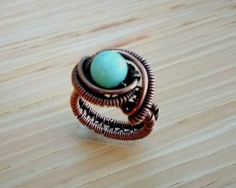 Copper and Amazonite Wirewoven Ring