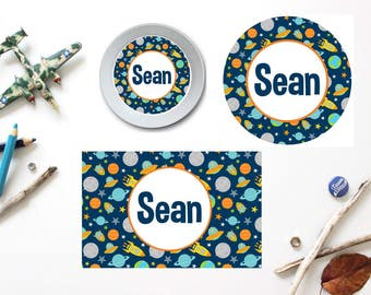 Space Plate/Bowl/Placemat . Personalized Plate/Bowl/Placemat . Boys Melamine Plate . Rocket Plate/Bowl/Placemat . Space Party . Outer Space