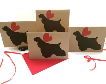 Cocker Spaniel Card Set % to ANIMAL RESCUE ECO Friendly Pack Blank Cards Holiday Thank You Birthday Christmas Gift Wrap, Red, pet sympathy