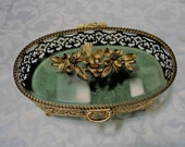 Reserved = Vintage Matson Oval Gilt Ormolu Jewelry Box - Jewelry Casket - Dresser, Trinket Box - Hinged Beveled Glass Lid