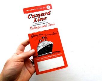 Mid Century 1957 Cunard Cruise Line Sailings & Fares Brochure White Star Line