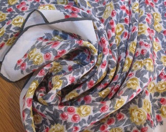 Vintage 50s Silk Scarf Japan - Ivory w/ Small Rose Pattern in Gray / Pink / Yellow - Charcoal Gray Hand-Rolled Edges.