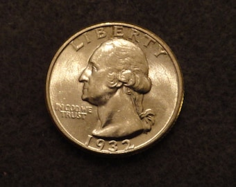 1932 Washington SILVER Quarter AU or better condition.- Very nice. Scarce.