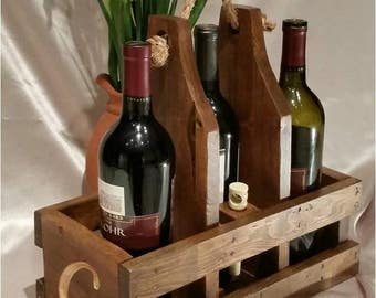 Engraved Personalized Wine Caddy handmade for housewarming, wedding present, festivals, dinner parties, hostess gift