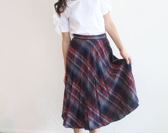 vintage plaid high waisted pleat skirt