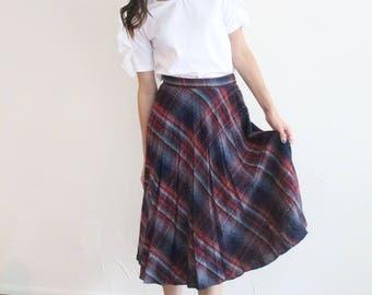 vintage plaid high waisted pleat skirt