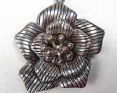 Vintage Large Silver Tone Rose Flower 3D Pendant Mid Century Lines Petals Floral