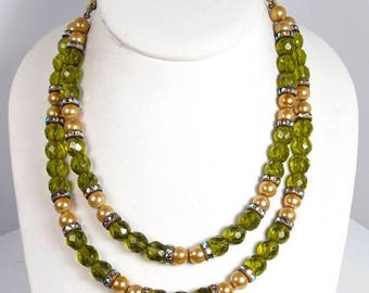 Spring Cleaning SALE Vintage HOBE Taupe Green Crystal Rhinestone Necklace Double Strand Chain Strung