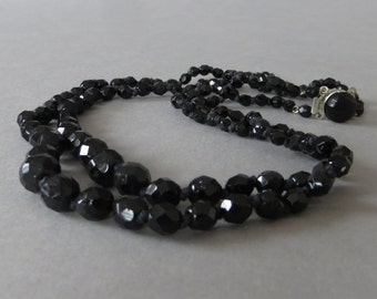 Vintage Black Glass Bead Necklace UNUSED Faceted Glass Double Strand Necklace Choker Vintage Costume Jewerly