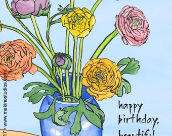 223. flower bouquet birthday card - set of any 6 designs