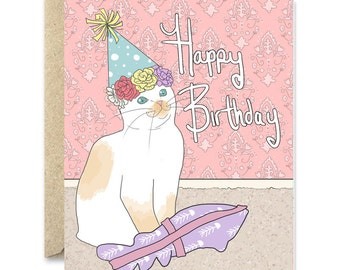 Cat birthday card- cat present - cat birthday card - brown kitten birthday