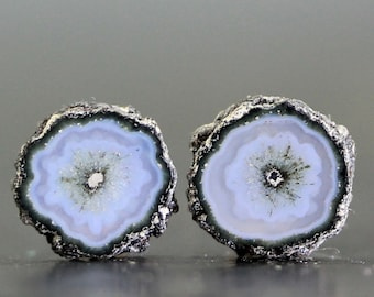 Petite 9mm Stalactite Grey Black Agate Slice Pair, Polished Crystal Flowers Earring Set DIY Jewelry Lessons and Designing Gems (CA7759)