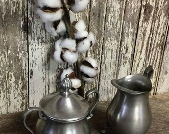 Vintage Footed Pewter Creamer & Sugar Bowl Lid Patina Old WEB 1136  Abx