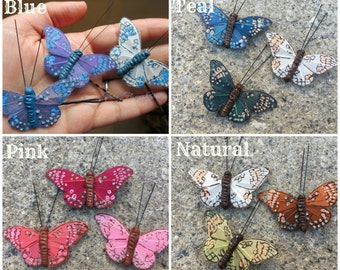blue butterfly hair clips, butterfly accessories, set of three, pink butterflies, more colors available