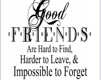 "CLEARANCE Friendship Fabric Patch ""Good Friends Hard to Find, Impossible to Forget"" Word Art Fabric, Friendship Quilt Block, Gift for Friend"
