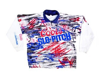 Rare 80s Coors Light Slo Pitch Allover Collared Crewneck Sweatshirt - XL