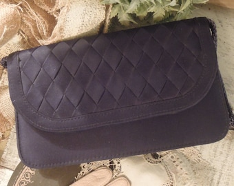Vintage 1950's Navy Blue Fabric and Braided Design Clutch / Handbag / Purse / Tote