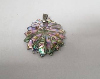 Vintage Sterling Silver Abalone Inlay Pendant Brooch Signed Made In Mexico
