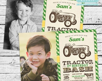 Vintage Tractor Bash Photo Invitation PLUS Matching Thank You Notes