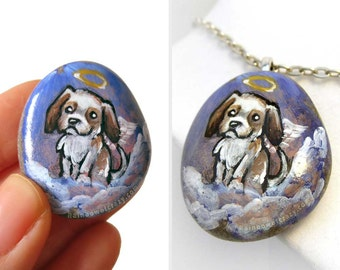 Dog Portrait, Shih Tzu Jewelry, Angel Necklace, Shihtzu, Pet Memorial Pendant, Dog Owner Gift for Her, Hand Painted Pebble Art