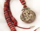Vintage Tibetan Necklace / Mala Prayer Beads / Stone Pendant with Silver Goddess