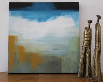 Abstract Contemporary Painting - Modern Minimal Painting - Seascape on Streched Canvas - Ready to Hang Wall Art