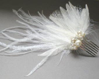 Bridal Ostrich Feather Comb.. Fascinator Hat.. Chic Prom.  Elegant Evening Wear. Holiday. Bride maids.