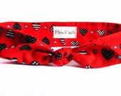 Red Headband with navy hearts - Cotton Women Headband - St. Valentines Day Headband - Hair Wrap - Bandanas