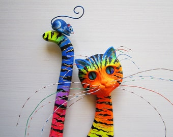 Colorful cat-whimsical cat-cat wall decor-wood cat art-whimsical mouse