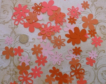 Assorted Cricut Die Cut Flowers / Blooms over 50 pieces Embellishments Made from Corals cardstock