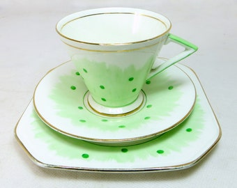 Art Deco Polkadot Trio, Palissy Ware Handpainted Spring Green Spotty Dotted Bone China Cup, Saucer & Teaplate Set 1940s