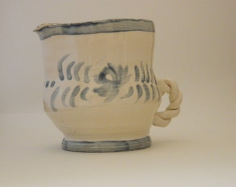 Pot Bellied White and Blue Pitcher