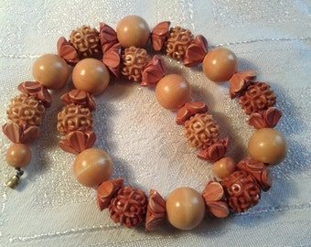 Vintage Art Deco Carved French Galalith Bead Necklace.
