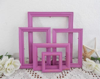 Radiant Orchid Picture Frame Set Shabby Chic Photo Wall Gallery Collection Romantic Cottage Paris Apartment Tropical Island Home Decor Gift