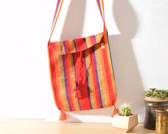 Colorful Messenger Bag made in Mexico, Woven Shoulder Bag, Rainbow Colors, Red, Blue & Green, Pinzon