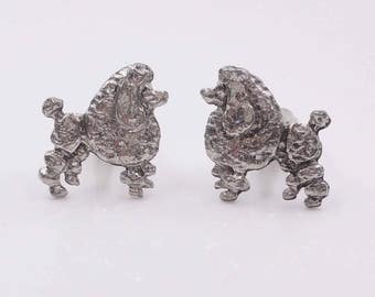 Standard Poodle Cufflinks Silver Tone French Poodles Vintage Cuff Links Dog Jewelry Gifts Accessories