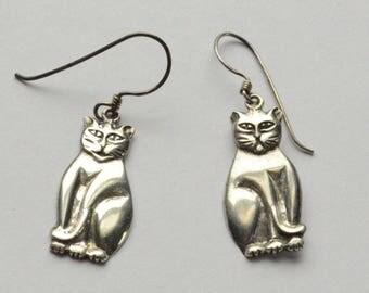 SALE Vintage Sterling Silver Modernist Cat Pierced Dangle Earrings